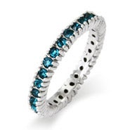 December Blue Zircon Birthstone Stackable Ring