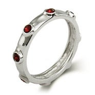 Garnet January Birthstone Bezeled Ring