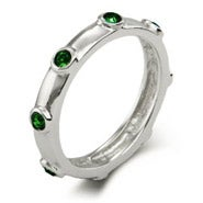 Emerald May Birthstone Bezeled Ring