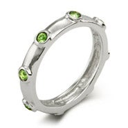 Peridot August Birthstone Bezeled Ring