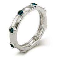 Blue Zircon December Birthstone Bezeled Ring