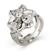 Fantasy World Elven CZ Flower Ring