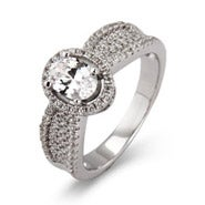 Halo Oval Cut Micro Pave CZ Ring