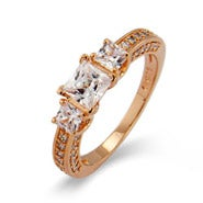 Rose Gold Princess Cut CZ Past, Present and Future Ring