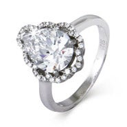 Vintage Style Faceted Pear Cut CZ Ring