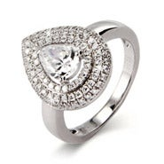 Pear Cut CZ Ring with Micro Pave Border