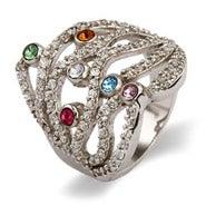 6 Stone Custom Austrian Crystal Dazzling Birthstone Family Ring
