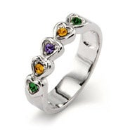 5 Stone Band of Hearts Family Birthstone Ring