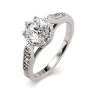 Sterling Silver Heirloom Design Crown Set CZ Ring