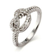 Designer Inspired Cabled CZ Pretzel Ring