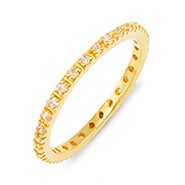 Thin Gold Pave CZ Stackable Ring