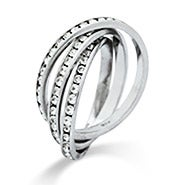 Triple Roll CZ Eternity Band Sterling Silver Ring