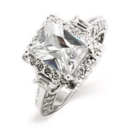 2.6 Carat Emerald Cut Diamond CZ Engagement Ring with Baguettes