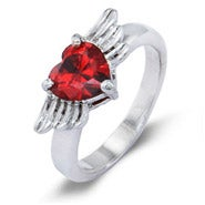 Custom Winged Heart Silver Birthstone Ring