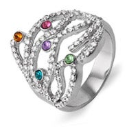 5 Stone Custom Austrian Crystal Dazzling Birthstone Family Ring