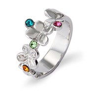 Custom 4 Stone Butterflies Silver Birthstone Ring