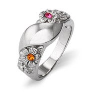 Custom 2 Stone Initial Flower Birthstone Ring