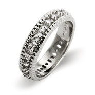 Triple Row Brilliant Cut CZ Eternity Band
