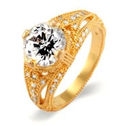 Celebrity Style Gold CZ Engagement Ring