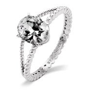 Celebrity Inspired Oval CZ Split Band Engagement Ring