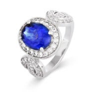 Vintage Design Oval Tanzanite CZ Ring