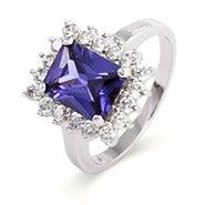 Sterling Silver Emerald Cut Tanzanite CZ Ring