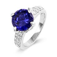 Sterling Silver Claw Set Tanzanite CZ Ring