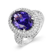 Exquisite Sterling Silver Pave Tanzanite Cocktail Ring