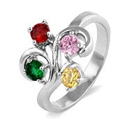 Custom 4 Stone Swirl Birthstone Ring