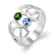 2 Stone Celtic Trinity Birthstone Ring
