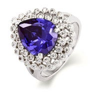 Designer Style Exquisite Pearcut CZ Tanzanite Cocktail Ring