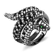 Pave CZ Encrusted Coiled Snake Cocktail Ring