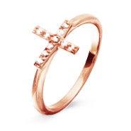 Rose Gold CZ Sideways Cross Ring