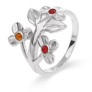 3 Stone Flower Blossom Sterling Silver Birthstone Ring