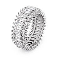 Baguette and Brillant Cut CZ Sterling Silver Eternity Band