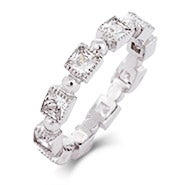 Princess Cut CZ Milgrain Edged Stackable Eternity Band