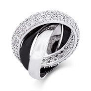 Black and Silver Triple Roll CZ Russian Wedding Ring