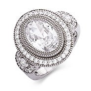 Sterling Silver Vintage Design Oval CZ Ring