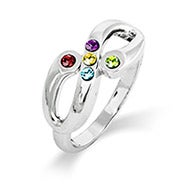 Adam and Eve 5 Stone Infinity Family Birthstone Ring