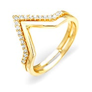 Double Chevron CZ Gold Vermeil Ring
