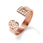 Two Initial Diamond Cuff Ring in Rose Gold