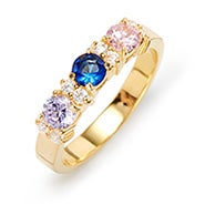 Custom Three Birthstone CZ Gold Ring