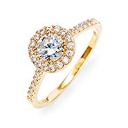 Petite Brilliant Cut Halo Gold Promise Ring