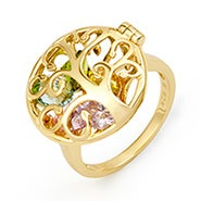 Family Tree Birthstone Gold Locket Ring