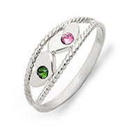Two Birthstone Twisted Rope Silver Mother's Ring