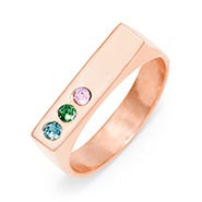 3 Stone Rose Gold Birthstone Name Bar Ring