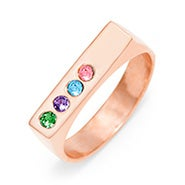 4 Stone Birthstone Rose Gold Name Bar Ring