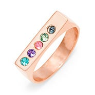 5 Stone Rose Gold Birthstone Name Bar Ring