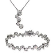 Designer Style Sterling Silver Bubbles Tennis Bracelet and Necklace Set