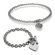 Designer Style Heart Tag Bracelet and Necklace Set
